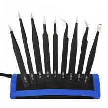 6/10Pcs ESD Tweezers Tool Set High  Antistatic Tip Curved Straight Nipper Repair Tool Kit Multifunction Tweezer