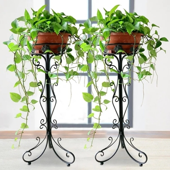 Iron flower stand flowerpot rack floor type European style living room balcony hanging orchid plant