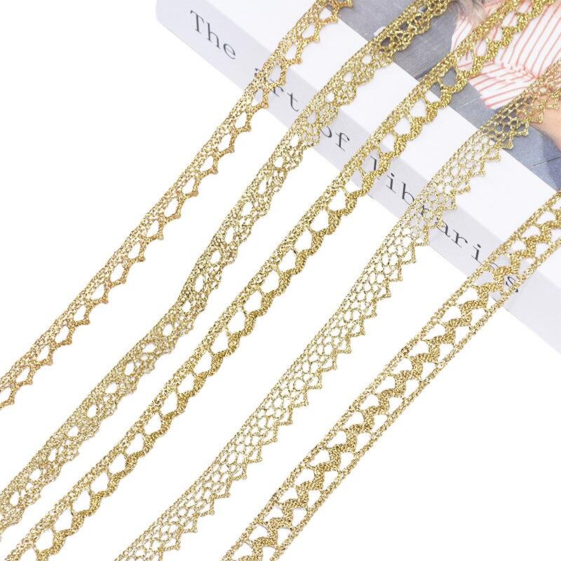 Altın gümüş dantel Trim şerit işlemeli kumaş dokuma dantel Trim dikiş el sanatları fransız afrika dantel hediye ambalaj 5/10yard