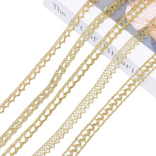 Gold Silver Lace Trim Ribbon Embroidered Fabric Webbing Lace Trim Sewing Craft French African Lace Gift Wrapping 5/10yard