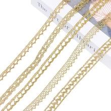 5/10 yardas oro plata encaje cinta bordada tela cinta algodón costura con adornos de encaje artesanía francés africano encaje envoltura de regalo