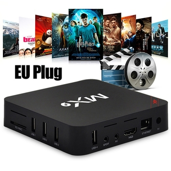 New TV Box MX9 4K Quad Core 1GB 8GB Android 4.4 TV BOX 2.0 HD HDMI SD Slot 2.4GHz WiFi Set Top Box Media Player EU Plug