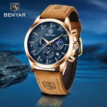 Часы benyar Мужские кварцевые с хронографом брендовые Роскошные