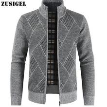 ZUSIGEL New Fashion Cashmere Sweater Men Geometric Print Zipper Mens Sweaters for 2019 Stand Collar Cardigan Coat