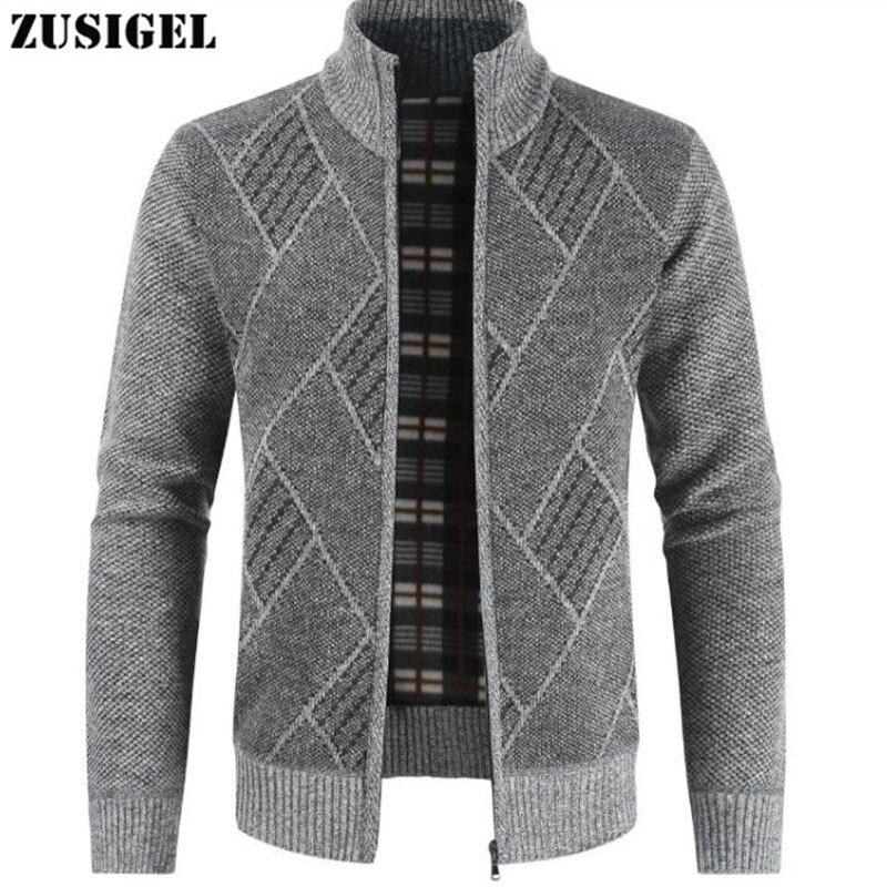 ZUSIGEL New Fashion Cashmere Sweater Men Geometric Print Zipper Mens Sweaters For 2019 Stand Collar Mens Cardigan Sweater