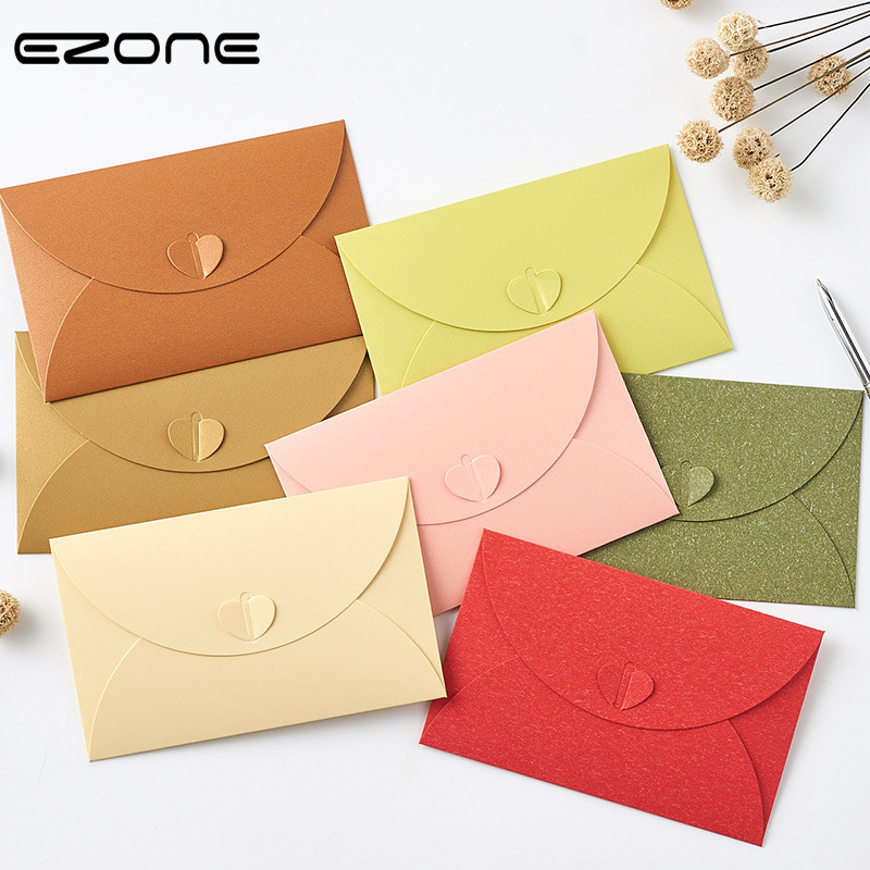 EZONE 5PCS Heart Shape Envelope High Quantity Kraft Paper Envelope Candy Color Wallet Envelope Card Storage School Office Supply