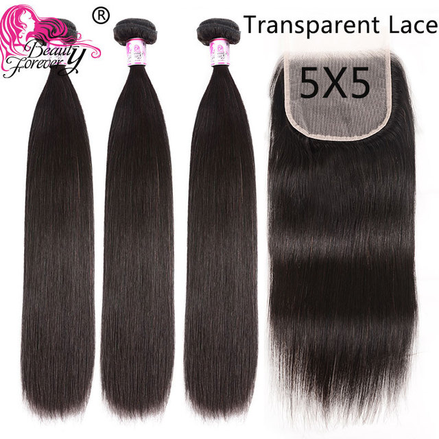 $ US $99.86 Beauty Forever Brazilian Straight Human Hair Bundles With Closure 5*5 Transparent Free Part Lace Closure Natural Color Remy Hair