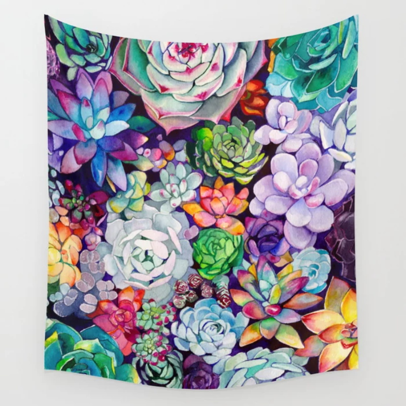 Succulent Garden Tapestry Beach Towel Throw Blanket Picnic Yoga Mat Print Tapestries Wall Hanging Home Decoration|Decorative Tapestries|   - AliExpress