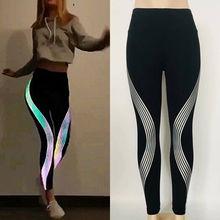 Hot Sale Fashion Women Slim Stretch Elastic Waist Joggers workout Push Up Night Glow Pants Trousers Reflective Fitness Leggings