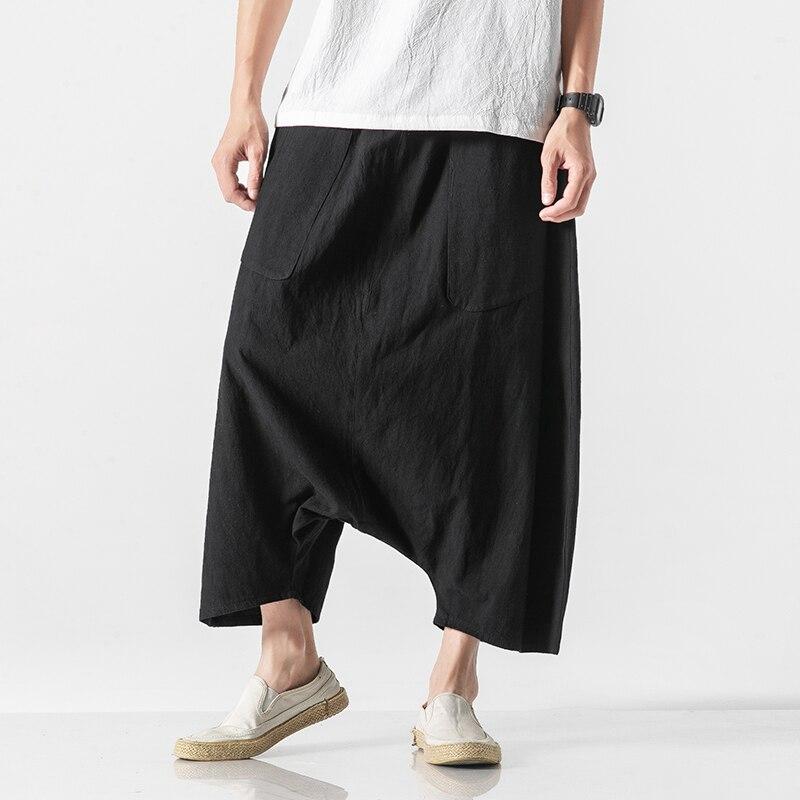 5 Colors Men Elastic Waist Loose Casual Cotton Linen Wide Leg Cross Pants Male Japan Streewear Kimono Pant Skirt Trousers