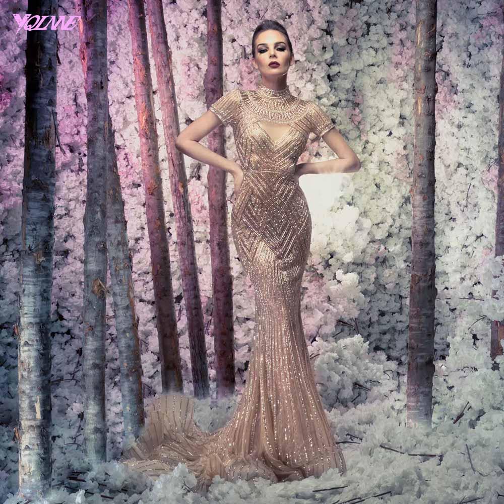 YQLNNE Luxury Rose Gold Crystal Short Sleeve Evening Dresses Long Mermaid High Neck Formal Dress Robe De Soiree