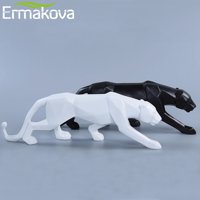 ERMAKOVA Panther Statue Animal Figurine Abstract Geometric Style Resin Leopard Sculpture Home Office Desktop Decoration Gift 1