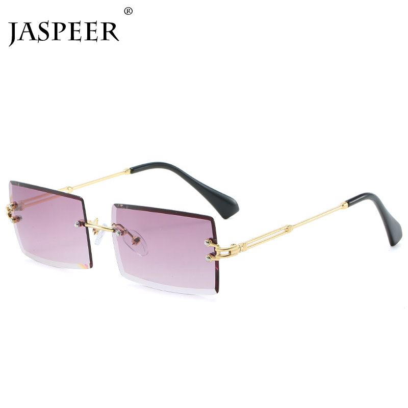 JASPEER 2019 New Rectangle Sunglasses Women Men Brand Design Rimless Square Sun Glasses For Man Alloy Frame Gradient Sunglasses