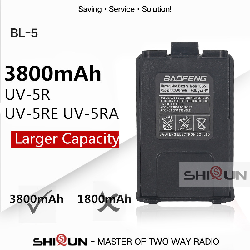 Hot Baofeng Uv-5r Battery BL-5 3800mAh Baofeng UV-5R UV-5RE UV-5RA Battery Larger Capacity Than Baofeng Original 1800mAh Battery