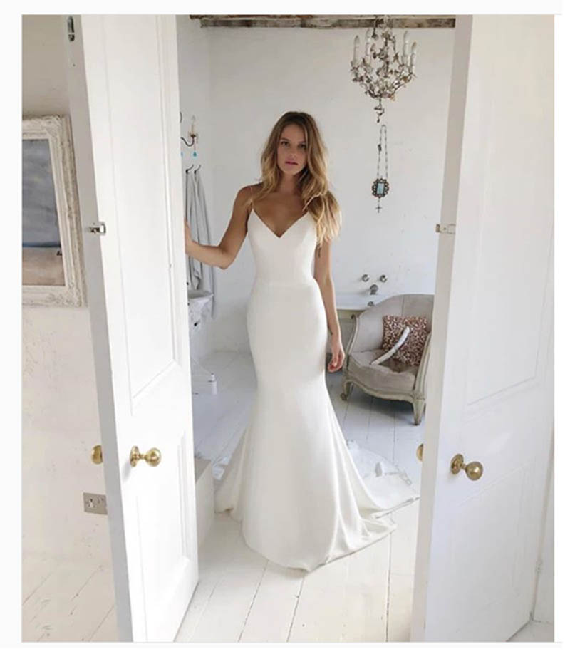 Vestidos De Novia Mermaid Beach Wedding Dress 2020 Sexy Outdoor Country Spaghetti Straps Bride Dress White Ivory Wedding Gown