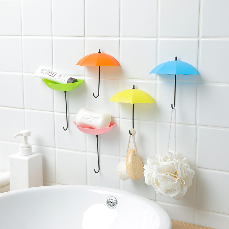 3pcs Creative Umbrella Cute Sticky Bag Hook Door Behind Glue Hook Wall Hanging Hook Coat Hanger Key Holder Home Decoration Gift