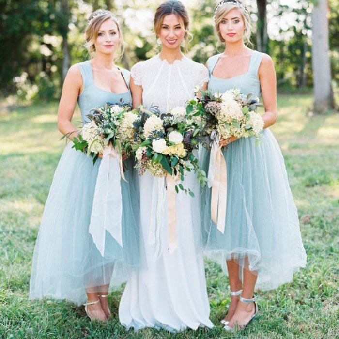 Vintage Ice Blue High Low   Bridesmaid     Dresses   2020 Country Tulle   Bridesmaid     Dress   Formal Prom Party Gowns Plus Size