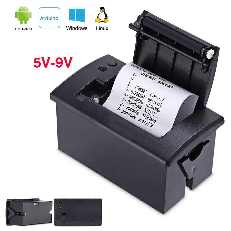 Mini 58 Mm Thermische Pos Ontvangst Ticket Ingebed Printer Machine Yazıcı Impressora Termica Ttl RS232 Voor Arduino Android 5-9 V 2A