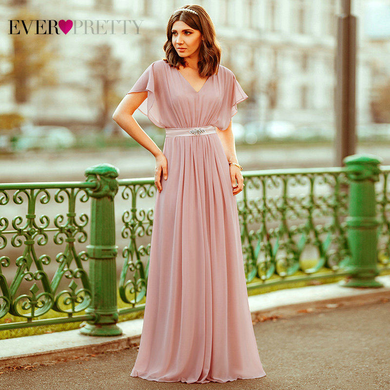 Pink Evening Dresses Long Ever Pretty EZ07717 Elegant A-line Chiffon Short Sleeve V-neck Sash Beaded Evening Gown Robe De Soiree