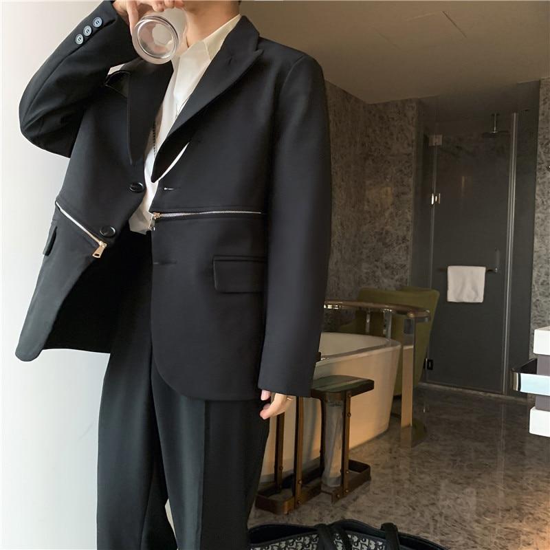 2020 New Men Zipper Design Casual Suit Blazer Jacket Overcoat Male Japan High Street Suit Coat Outerwear Spring Autumn