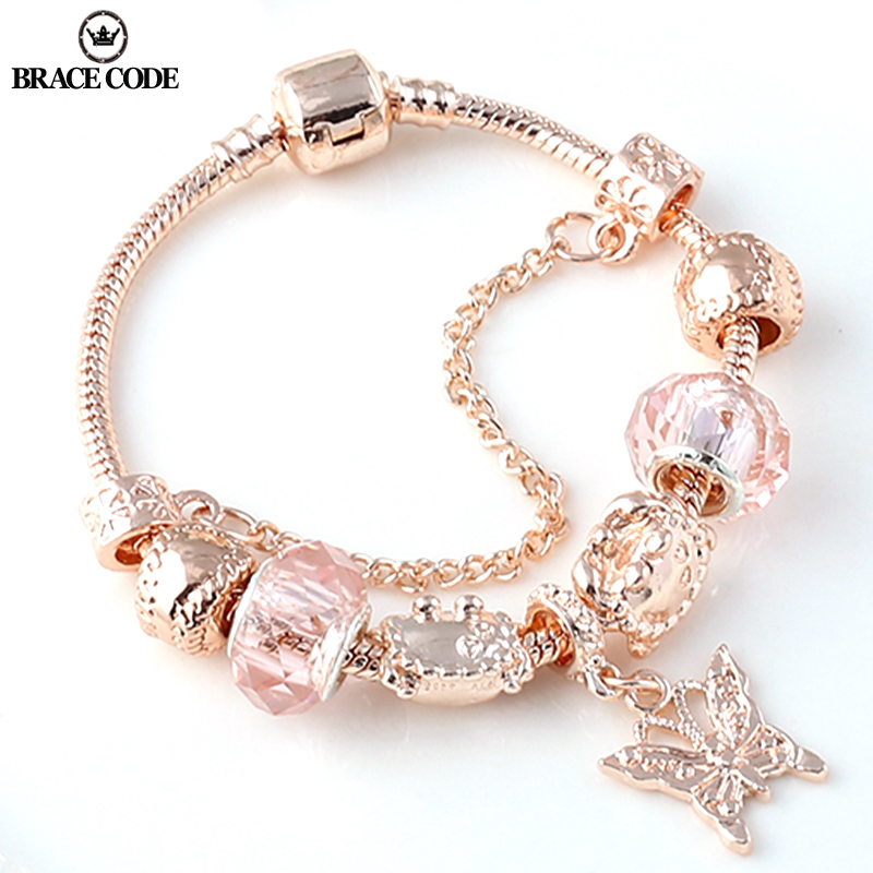 BRACE CODE Rose golden butterfly Charm Bracelet With An crown Beads Fits Fine Bracelet Women Party Jewelry Dropshipping(China)