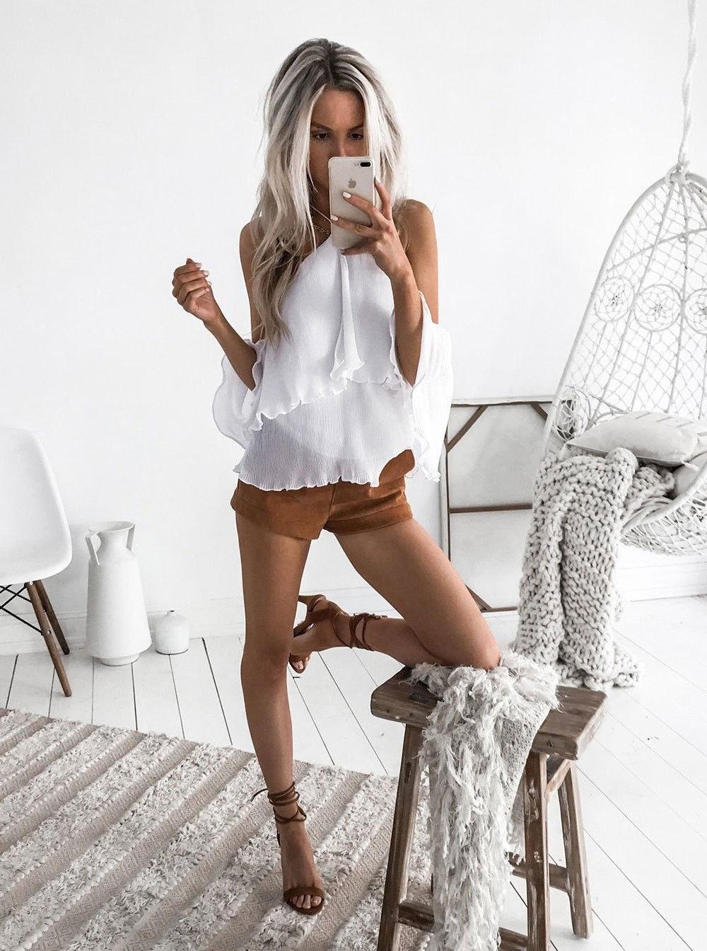 new Classics Comfort Off Shoulder Shirt Tops Womens female Summer Ruffle Shirts Festivals Cute Ladies Loose Casual  Blouse xxl