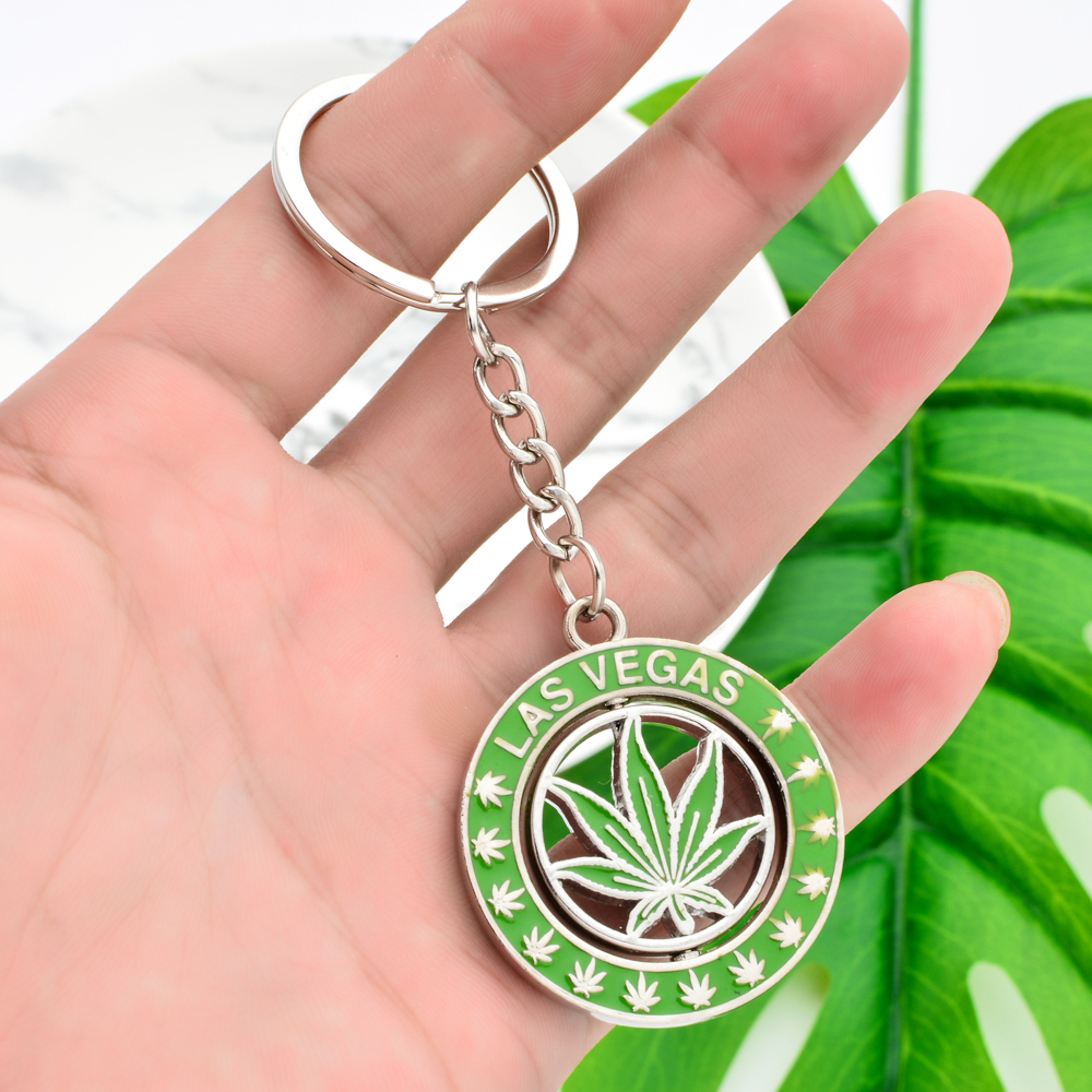 Vicney Rotatable Las Vegas Cannabi Leaf Key Chain Light Green Plant Keychain For Men Women Zinc Alloy Round Keyring For Friends
