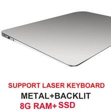 15.6 oyun dizüstü arkadan aydınlatmalı klavye dizüstü bilgisayar 8GB RAM DDR4 1TB 512G 256G 128G SSD Win10 dört çekirdekli IPS Ultrabook