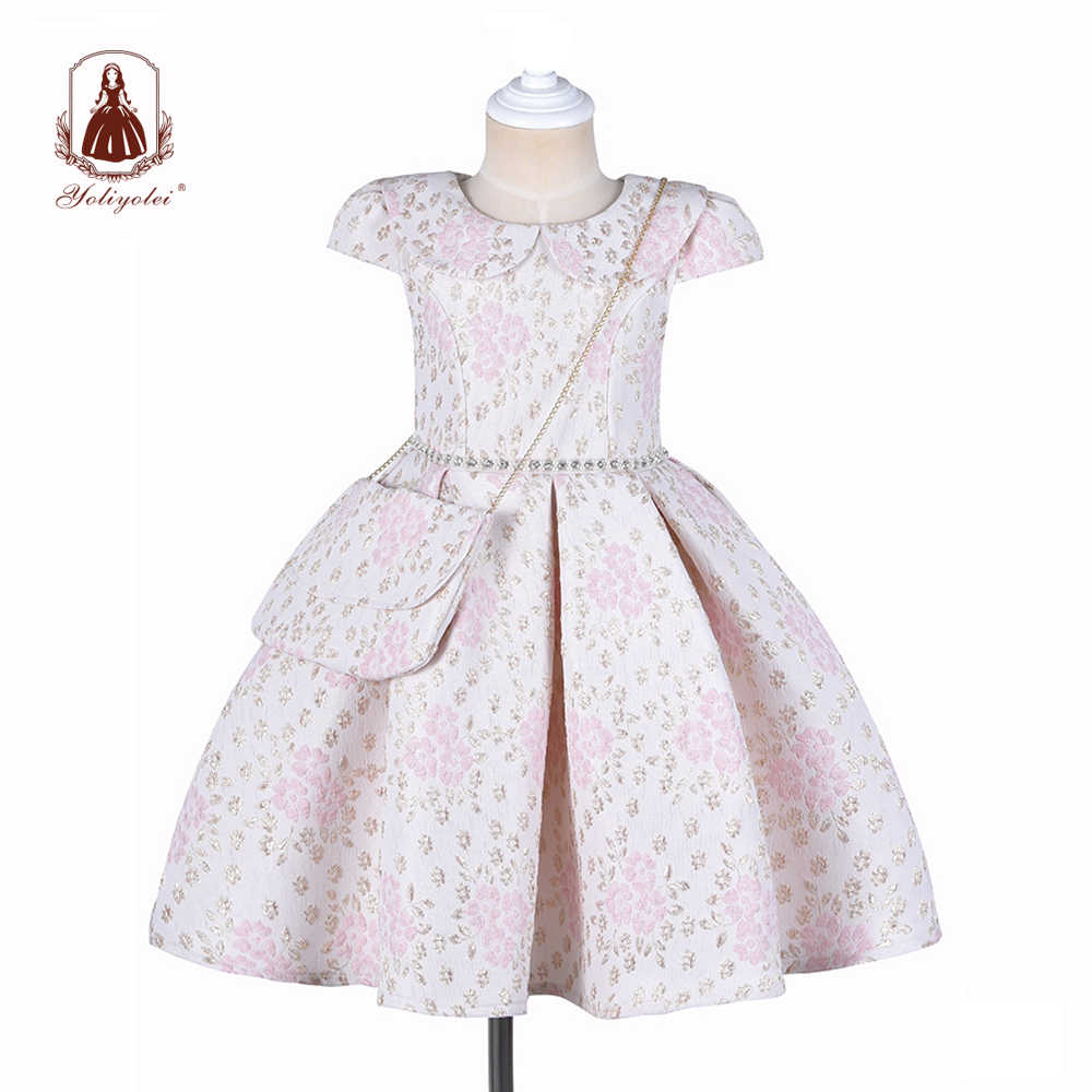 Yoliyolei Ball Gown Robe Fille 2020 With Bag Girls Size 8 Peter Pan Collar Clothes Short Sleeve Embroidery Long Dresses for Girl