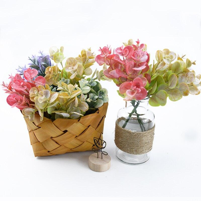 6pcs Artificial Plants Cheap Wedding Decorative Flowers Wreaths Vases For Home Decoration Accessories Plastic Eucalyptus Leaves