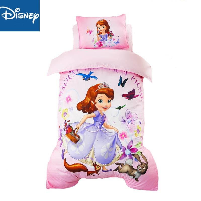 120*150 bed Disney Kindergarten Bedding Sets pink Sophia Frozen Children's Cotton Baby Bedding New Three-Piece Set includ filler