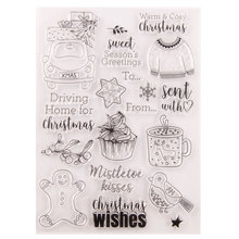 Snowman Tree Car Bird Clear Stamps Scrapbook Christmas Card Paper Craft Silicon Rubber Roller Transparent