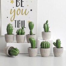 Creative Cactus Simulation Bonsai Nordic Style Resin Crafts Artificial Succulent Plant Figurines Home Green Desktop Ornaments