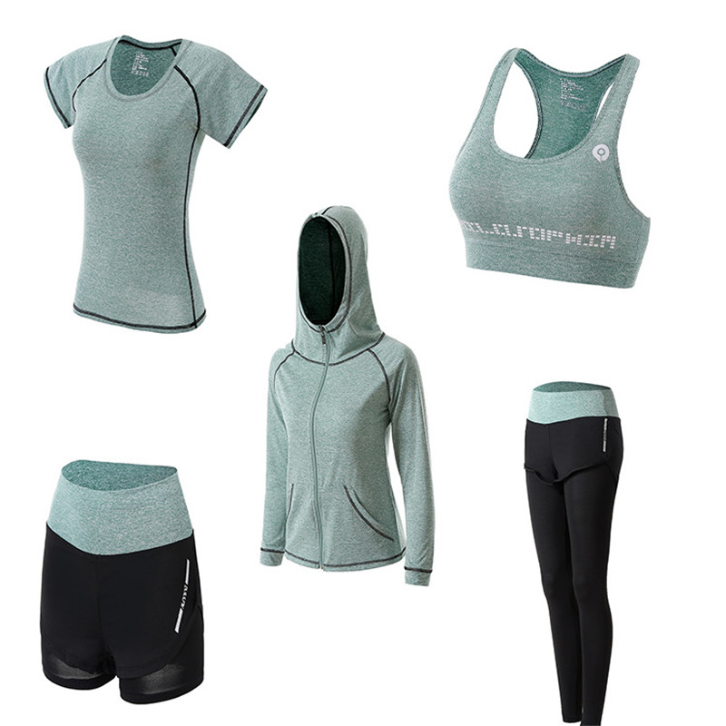 Workout Yoga-Jumpsuit Sports-Set Fitness Gym Running Women's Outdoor Quick-Dry 1set/5pcs