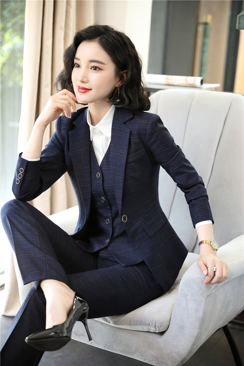 High Quality Fabric Formal Women Business Suits With Pants And Jackets Coat And Vest & Waistcoat Ladies Pantsuits Female Blazers
