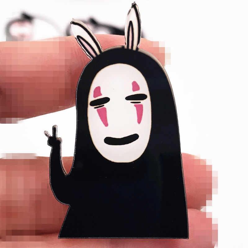 1Pcs Nenhum Homem Rosto Faceless Men Ícone Dos Desenhos Animados Japoneses Harajuku Broche Acrílico Badges na Mochila Roupas Emblemas Pin dom mulheres