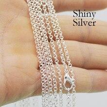 50 pces-18/24/30 Polegada prata chapeado colares para as mulheres, atacado prata cor rolo link corrente colar para fazer jóias