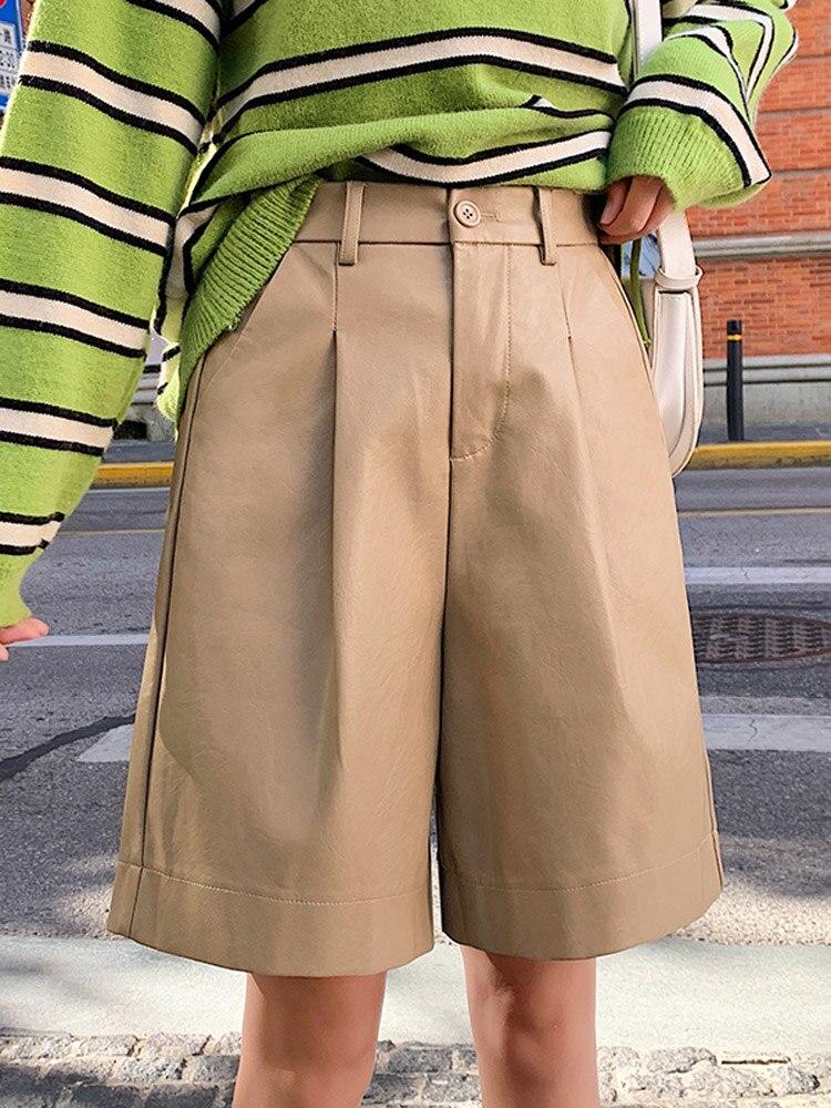 Trouser Shorts Elastic-Waist Bermuda Autumn Winter Plus-Size Fashion Women's Loose PU