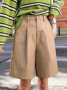 Trouser Shorts Elastic-Waist Bermuda Loose Autumn Winter Plus-Size Fashion Women's PU