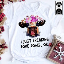 Vaca de gado eu apenas louco amor vacas ok camisa