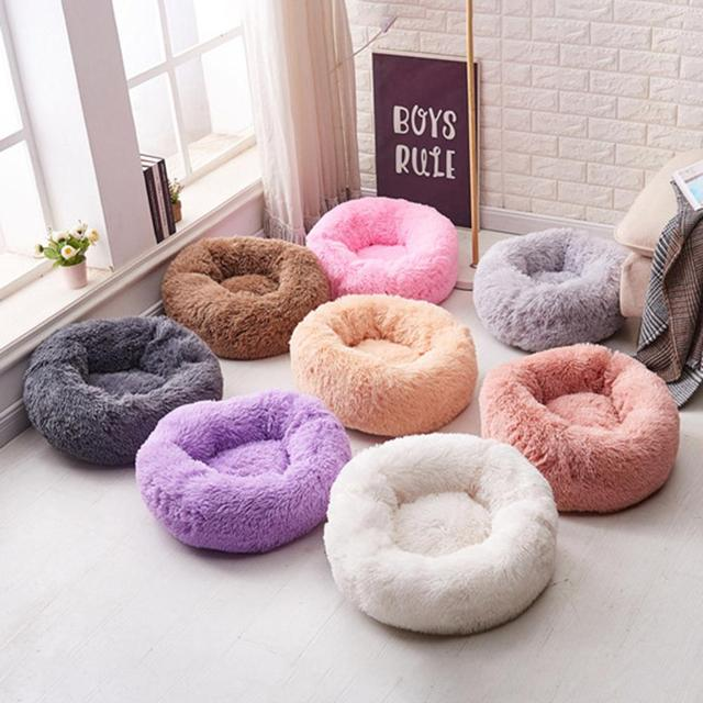 Round Pet Bed Cat Dog Winter Warm Sleeping House Washable long plush Dog Kennel Cat Bed Kennel Nest Foldable Puppy Cushion Mat