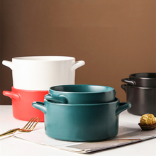 Nordic Binaural Ceramic Tableware Solid Color Personalized Instant Noodle Salad Bowl Household Kitchen Supplies Noodle Bowl 5 6 8 inch japanese cherry blossom ceramic ramen bowl large instant noodle rice soup salad bowl container porcelain tableware