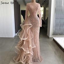 Новейший дизайн Персиковое вечернее платье с длинными рукавами роскошное вечернее платье русалки с алмазным бисером настоящая фотография LA6645
