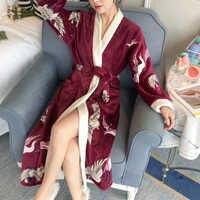 Ample PersonalityThicken chemises de nuit hiver peignoir femmes pyjamas bain flanelle chaud Robe vêtements de nuit sexy femmes Robes or velours