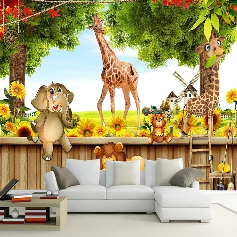 New Custom Large Mural 3D Wallpaper Cute Cartoon Animal World Elephant Child Bedroom Mural TV Back Wall Decor Deep 5D Embossed