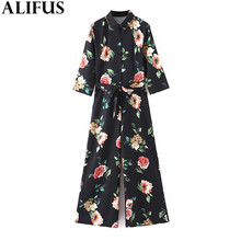 Fashion Za Women 2019 Vintage Floral Print Sashes Chic Jumpsuits Bow Tie Pockets Chic Rompe
