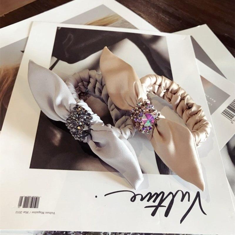Модные резинки для волос с кроличьими ушками, эластичные ленты для волос, высококачественные блестящие шелковые крупные банты с бриллианта...