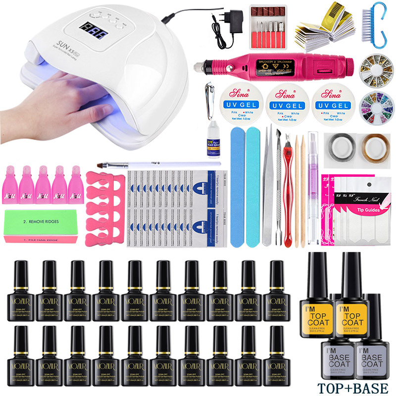 Nail Set UV LED Lamp Dryer Nail Gel Polish Kit Soak Off Manicure Tools Set Electric Nail Drill For Nail Tools