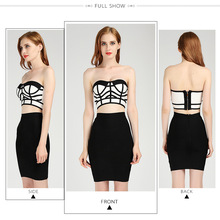 Новое поступление, оранжевое и белое платье без бретелек, комплект из 2 предметов, Бандажное платье,, Черное и белое платье+ костюм