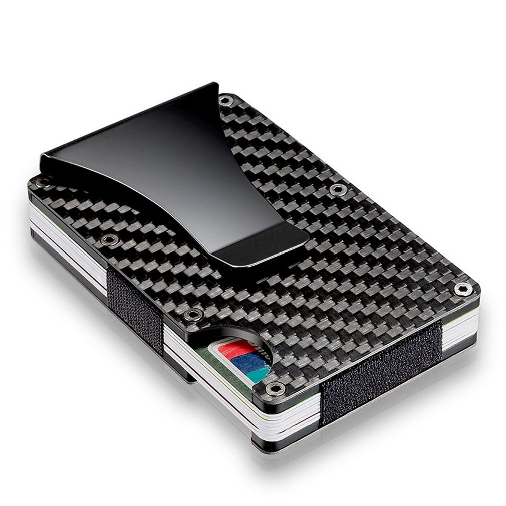 Men Card Holder Slim Carbon Fiber Credit Card Holder Metal Wallet  Anti Scan Function Hold Card Coins Cash 2019 New Drop